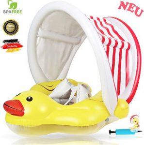 Flotador de pato para bebé con protector solar