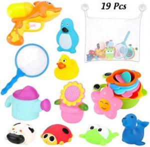 Juguetes de bañera con pato