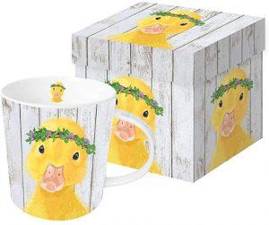 taza de pato corona de flores